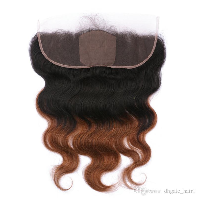 Base de soie 13x4 Full Lace frontale fermeture avec 3Bundles Body Wave Ombre 1B / 30 Moyen Auburn 2Tone Vierge Ombre cheveux humains Weaves