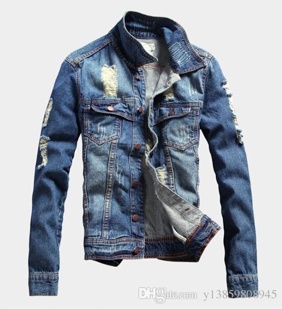 Discount Long Jean Jackets For Men | 2017 Long Blue Jean Jackets ...