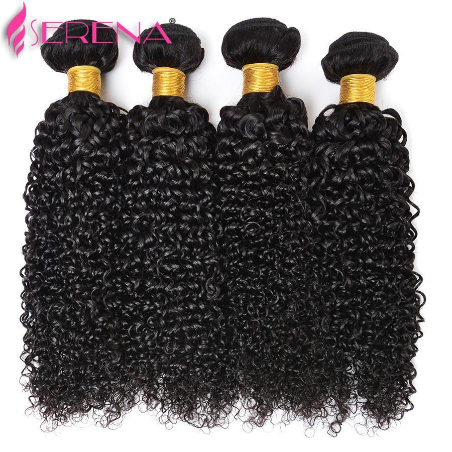 브라질 버진 위브 클로저 처녀 머리카락 4 번들 귀에 귀에 레이스 정면 번들로 깊은 곱슬 인간 머리카락