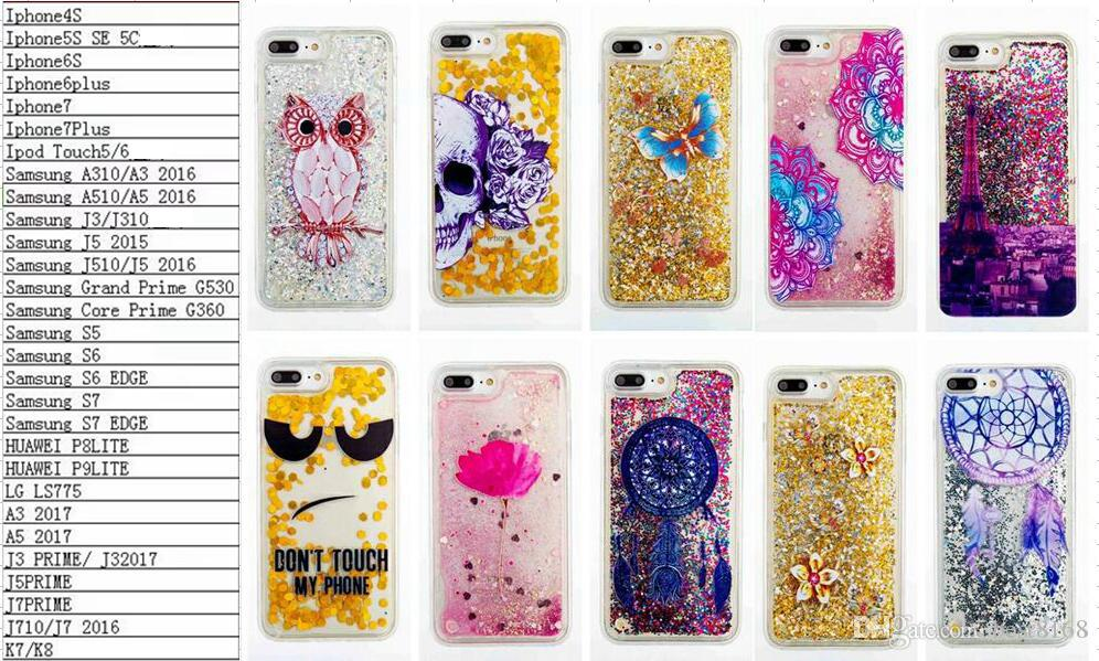 new product 73ede 2e65c Bling Liquid Quicksand Glitter Soft TPU Silicone Case For IPhone 7/Plus/6  6S/SE 5 5S 5C/4 4S/Touch 6 5 Skull Lace Dreamcatcher Skin Moving