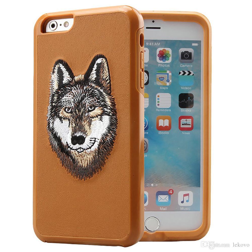 Nouveau Pour iPhone7 i7plus iPhone 6s broderie animaux Cas de téléphone à deux-en-un aussi Samsung S8plus Housse de protection avec sac au détail Livraison gratuite