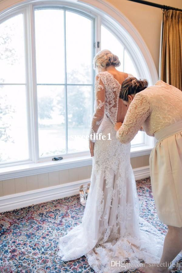 Spring Summer Full Lace V Neck Wedding Dresses 2017 Elegant Long Sleeve Back Cover Button Sweep Trian Boho Garden Beach Bridal Gown Hot Sale