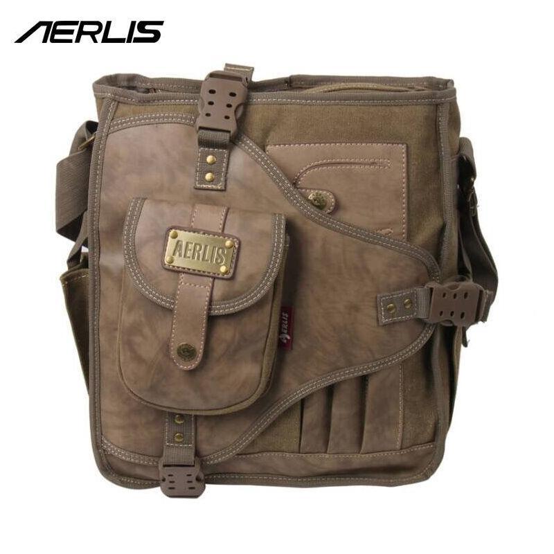 951a6825bf58 Wholesale- AERLIS Handbag Men Messenger Shoulder Bags Canvas Leather  MultiFunction Male Satchel Crossbody Sling Business School Bag 4505