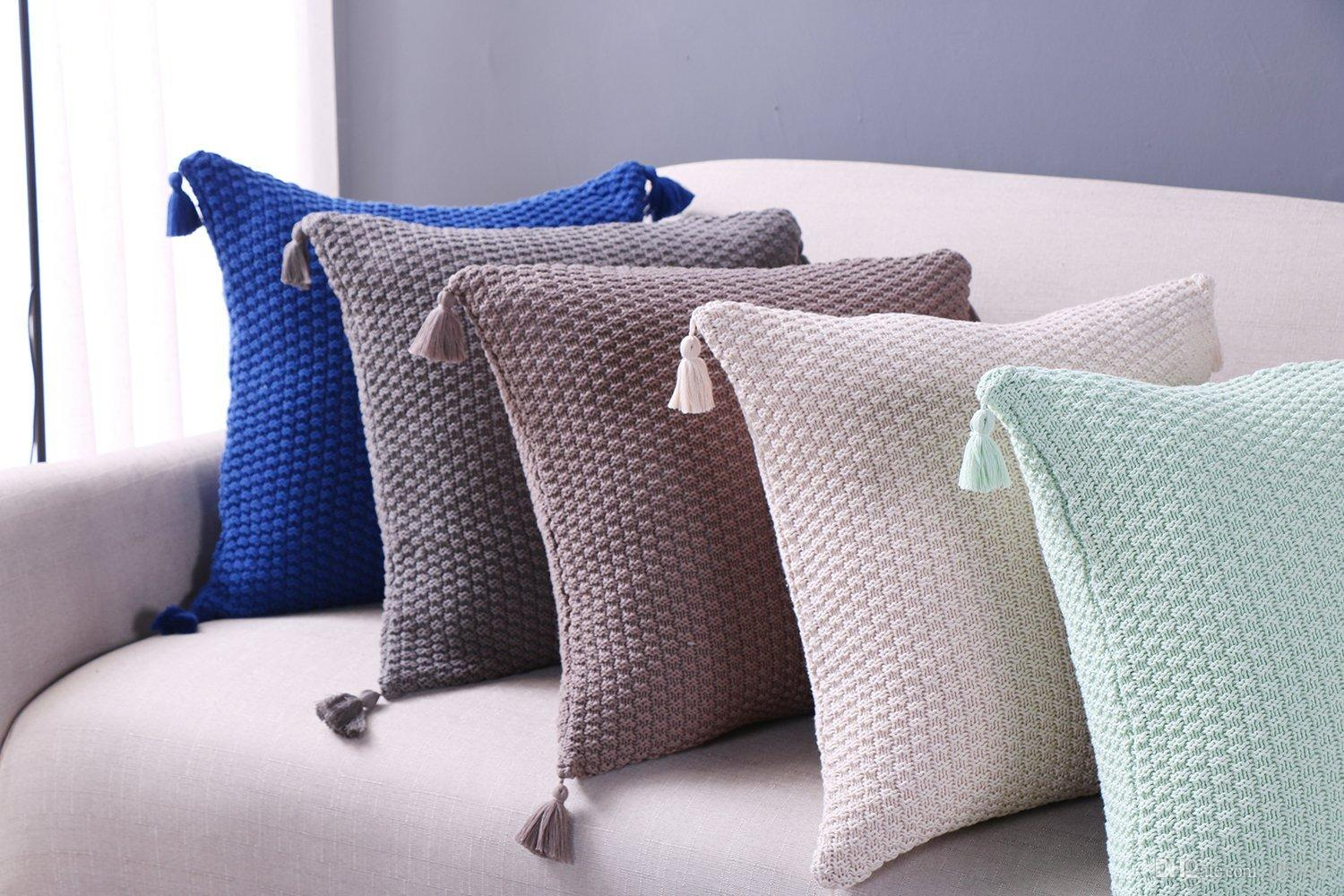Nordic Cushion Cover Tassel Cushion Knitted Pillow Cover Cable Knit ...