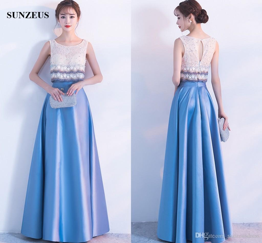 Pearls Lace Bodice Blue Satin Evening Gowns Long A Line Tank Prom ...