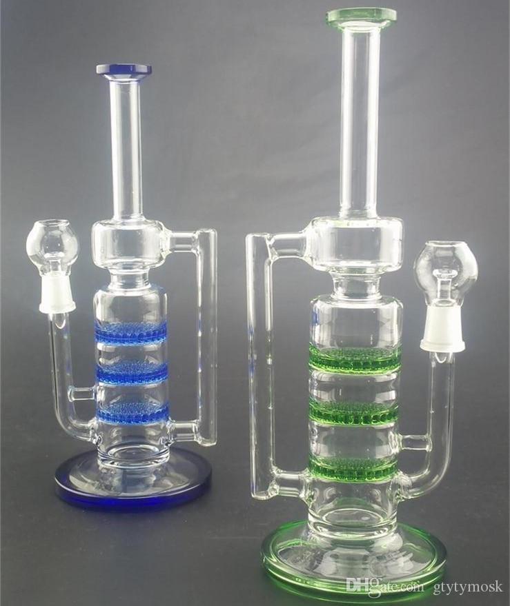 Bongo de vidro novo três Disk Honeycomb azul cor verde 26cm de altura copo de água pipblbler de vidro pip