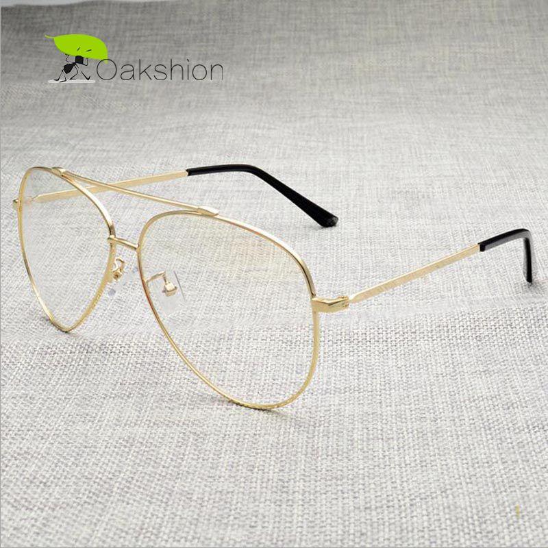 Compre Al Por Mayor Moda Gafas De Oro Marcos Marcos Transparentes ...