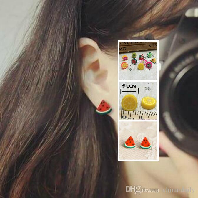 Free Ship 50 Pairs 3D Cartoon Fruit (15 designs) Ear Studs Earstud Earrings Jewelry Sweet Ear Studs + Free Stoppers