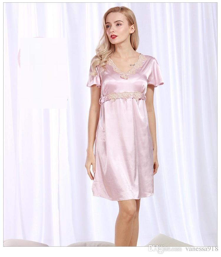 Sexy Lingerie Women Sleepwear Female Sexy Nightgown Satin Nightgowns ... 3efc267dc