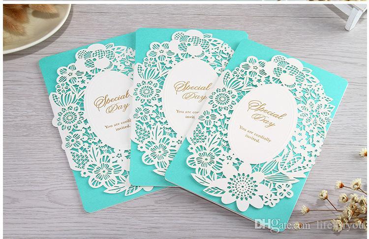 Convites de casamento convites de casamento de corte a laser convites de casamento favores do partido Novo Em Branco Interior Com Envelope adesivo Decoração Do Partido