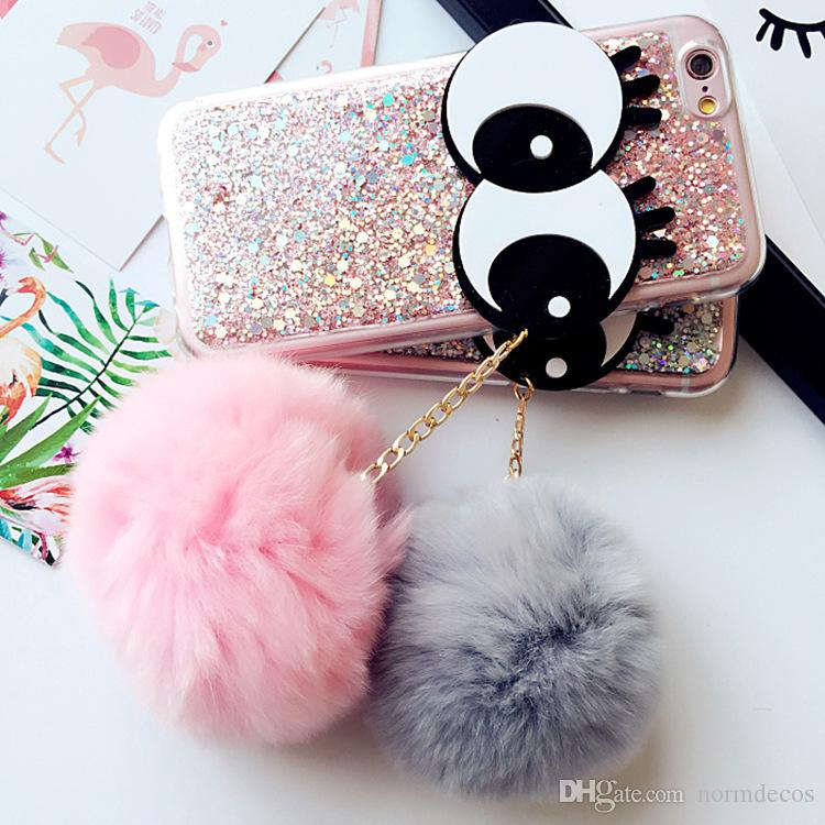 Fashionable wrasse of rabbit hair ball for iphone 7plus hand case flash powder drops of rubber eyelash big eyes 6/6plus protective sleeve