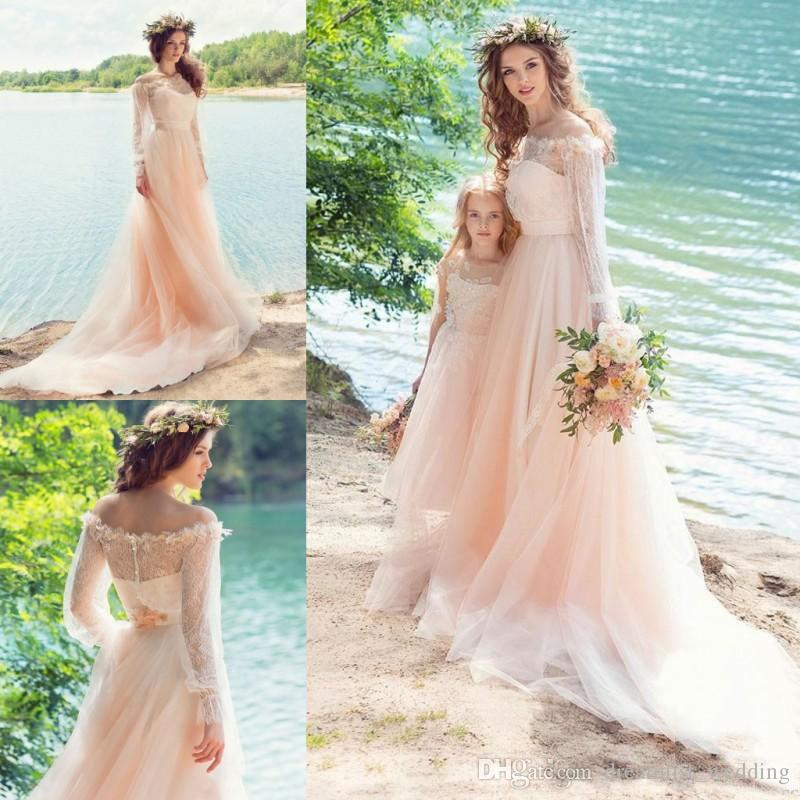 Discount Pink Fairy Wedding Dresses Country Style Off Shoulder Long Sleeves Sheer Neck With Applique Wedding Gowns Soft Tulle Bridal Dresses Weddingdresses