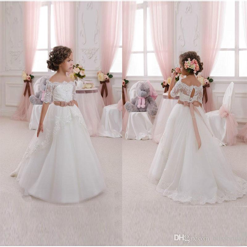 826440e38 New Hot White Ivory Lace Flower Girls Dresses With Belt Floor Length ...