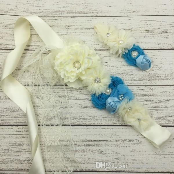 Baby Girls Headbands Kids Girl Diadema de flores + Cinturón establece infantil princesa gasa diadema niños accesorios para el cabello Photo Sps S853