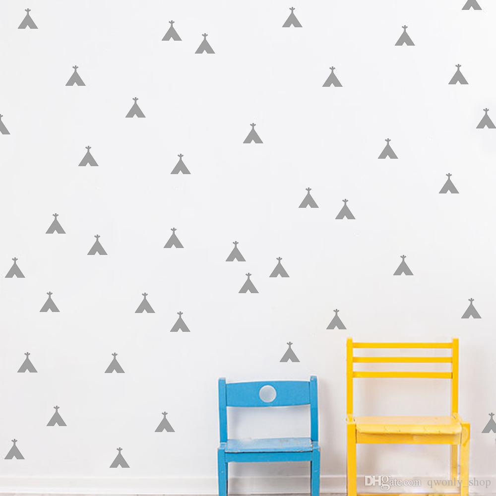 Gold/Silver/Grey/Black/White Cartoon Teepee Wall Decals Removable Teepee Wall Stickers Kids Room Decor