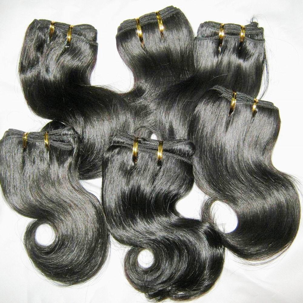 / curto tecer 100% peruana processados cabelo 50g / pcs corpo onda de trama cores escuras humanos 8