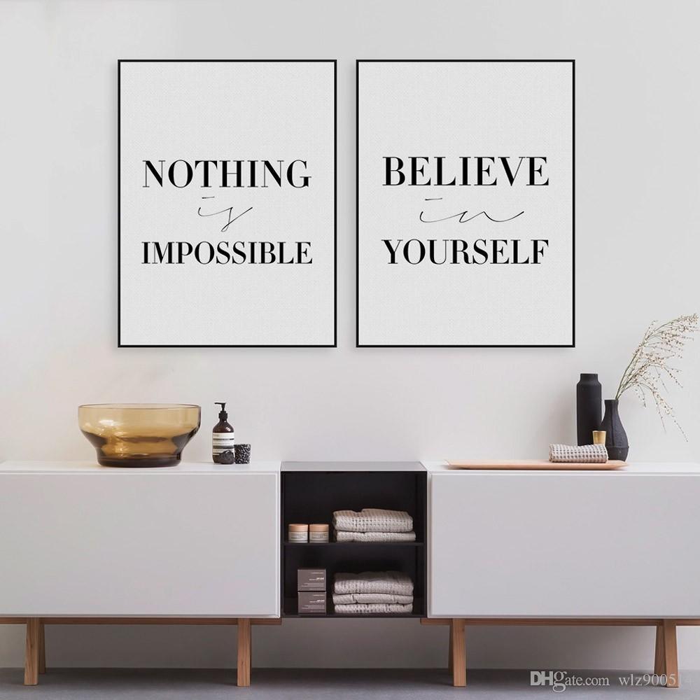 Großhandel Black Minimalist Motivational Typografie Glauben Zitate ...