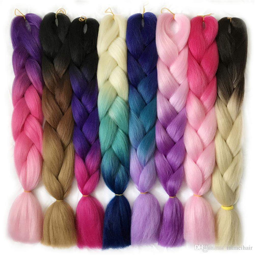 Mtmei Hair 24Inch 100g / Pack Synthétique Jumbo Tresses cheveux Ombre Crochet Tressage Extensions de Cheveux Coiffure Africaine