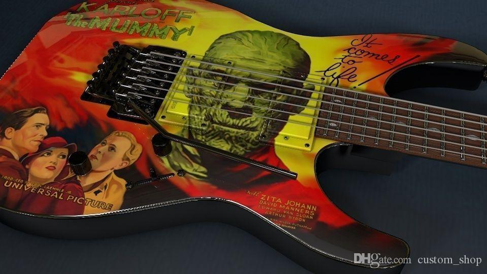 Custom kirk Hammett LTD KH-3 Karloff Mummy Electric Guitar Custom Painted & Airbrushed by Eye Kandi, EMG Pickups, Floyd Rose Tremolo Bridge