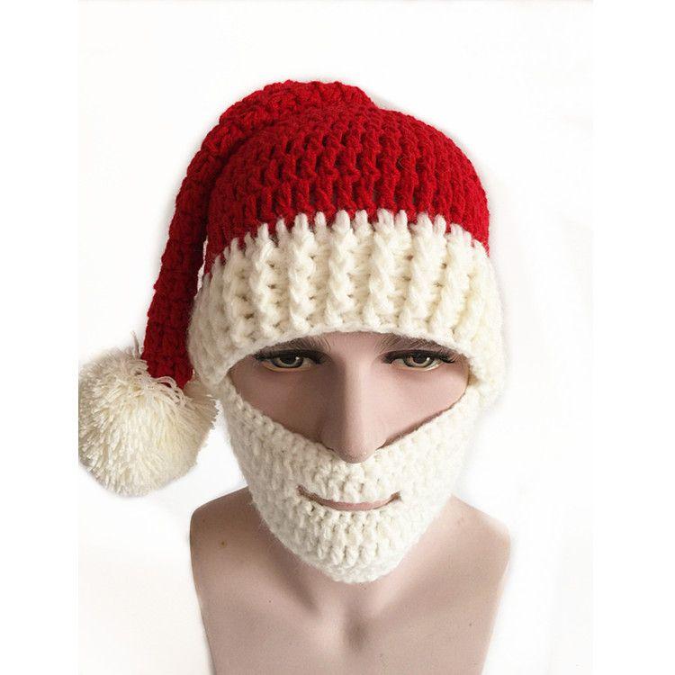 Christmas Knitting Beard Mask Cap Men Women Winter Santa Clause Cosplay Warm Ear Skiing Hat Headgear Cute Hats