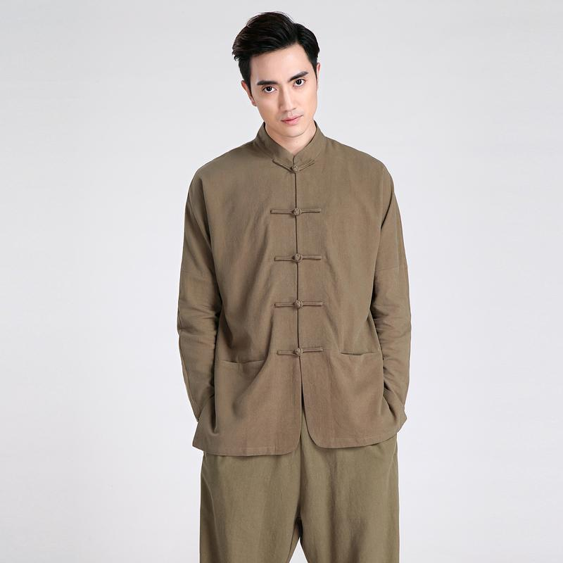 0f08e5c258 Wholesale- Vintage Army Green Chinese Male Long Sleeve Casual Shirt ...