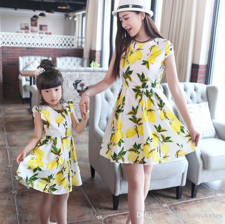 Eşleştirme Anne Kızı Giyim Yaz Tarzı anne Kızı Eşleştirme Elbiseler Anne ve Kızı elbise Baskı Aile Giyim