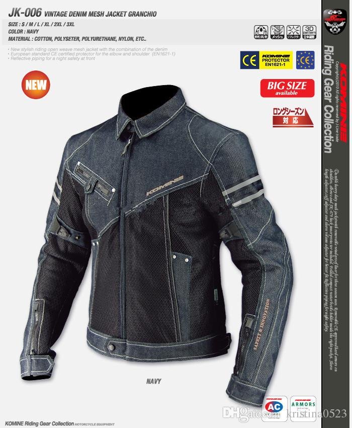 2019 2017 Brand New Komine JK 006 Motorcycle Jacket Breathable Mesh Riding Racing Denim Jacket With Protector From Kristina0523, $70.32   DHgate.Com