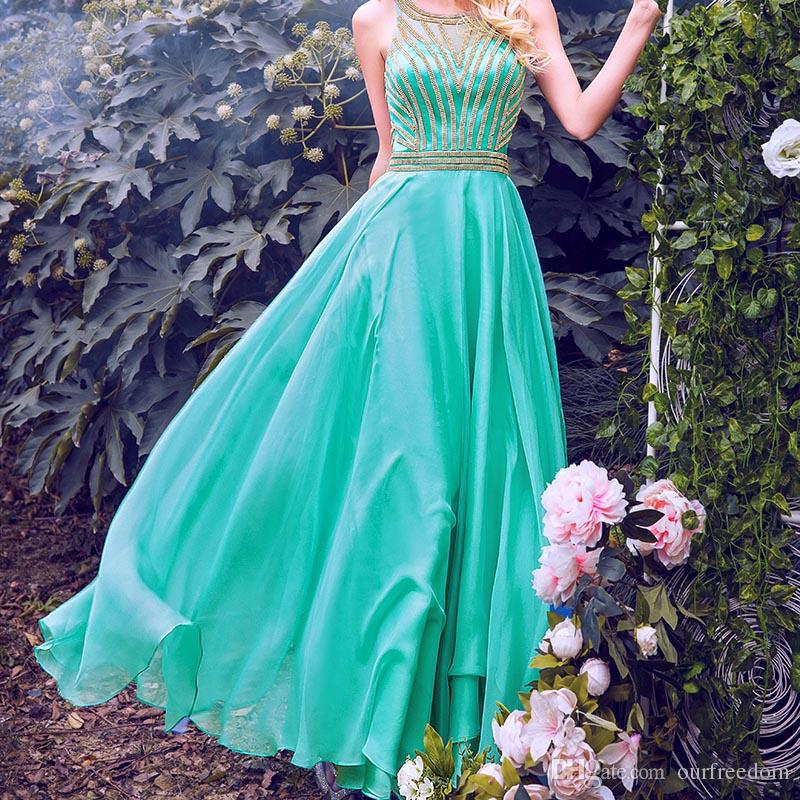 Charming Aqua Chiffon Long Evening Pageant Dresses 2017 100% Real Image Sheer O Neck Gold Sparkly Sequins Beaded Prom Party Girls Dresses