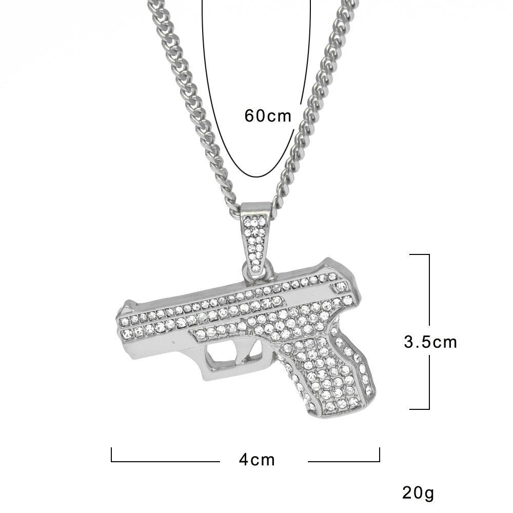 Men's Gun Necklace Bling Rhinestone Crystal Charm Gold Silver Pistol Hand Gun Pendant Necklace Fashion Hip hop Jewelry