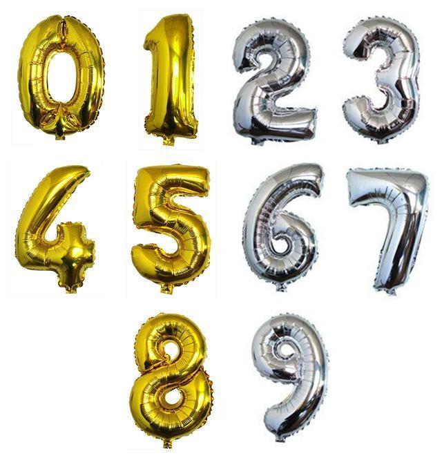 30 pollici oro argento numero stagnola palloncini cifre elio ballons festa di compleanno decorazione di nozze air baloons evento partito