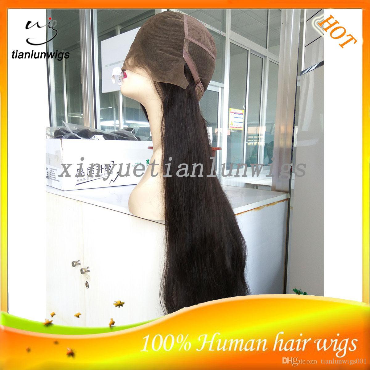 Naturel droite couleur naturelle humaine cheveux longs pleine perruque de lacet femmes indiennes avant de lacet de cheveux perruque