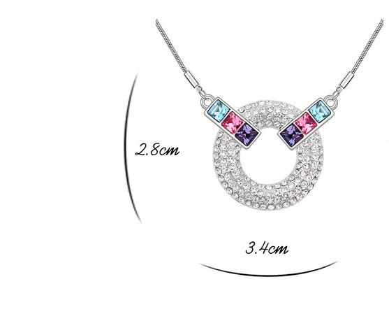 Ornaments. Crystal Necklace. Woman. Girls. Fashion. Inlay crystal. Pendant. Not allergic. Plating platinum. Gifts. Circles.Long 40CM.