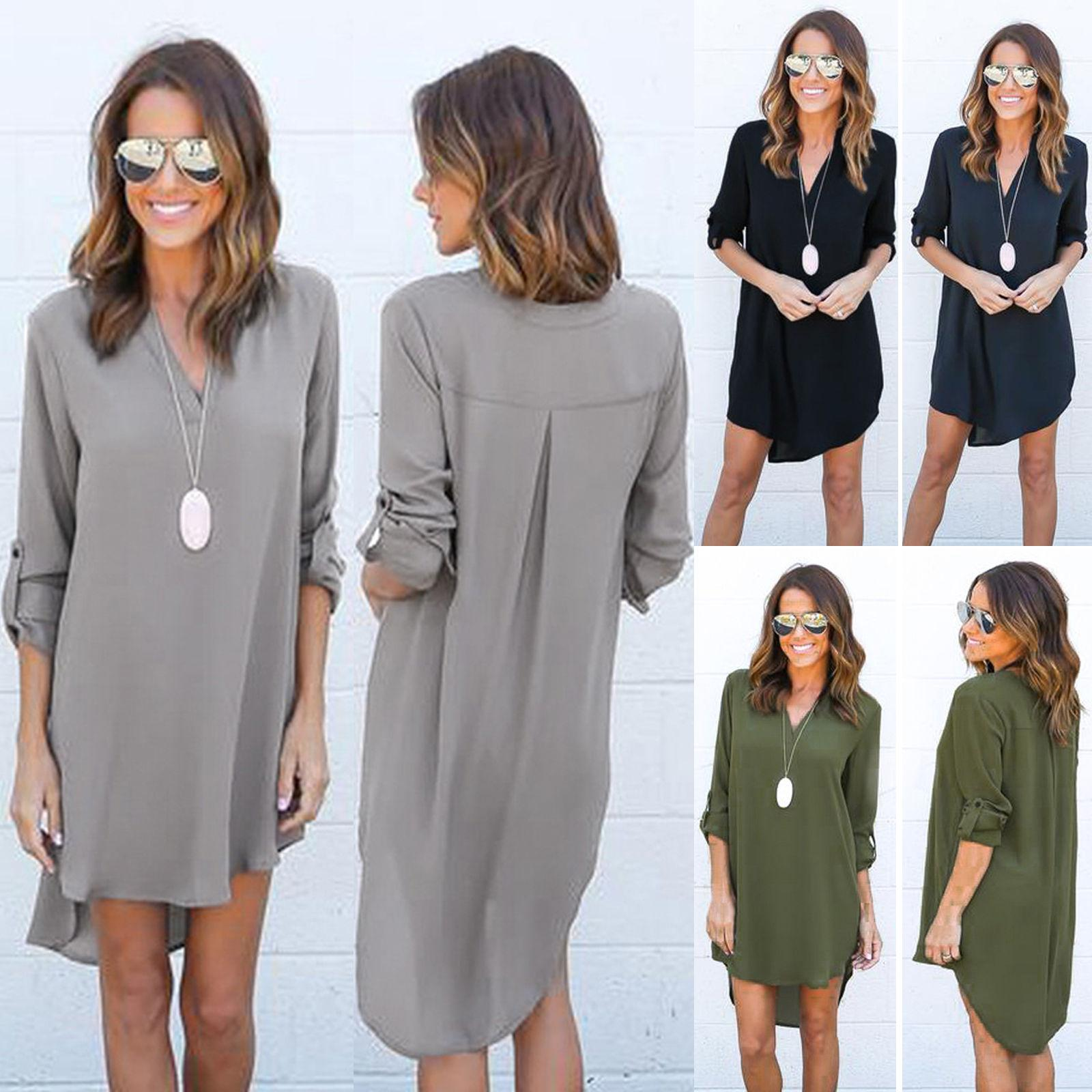 881e5538a7 Womens Chiffon Blouses Long Sleeve T Shirt Ladies Tee Shirt Casual Loose  Irregular High Low Short Dress Tops White Dress Womens Short Long Dress  From ...