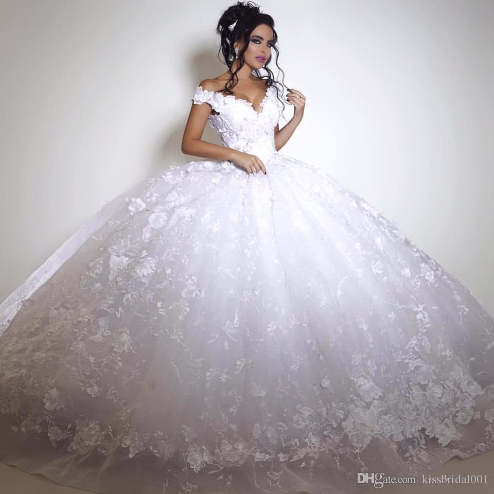 Robes de mariée en dentelle de Dubaï Vintage Big Ball robe arabe robes de mariée hors épaule dentelle haut arrière étage longueur blanc ivoire magnifique robe