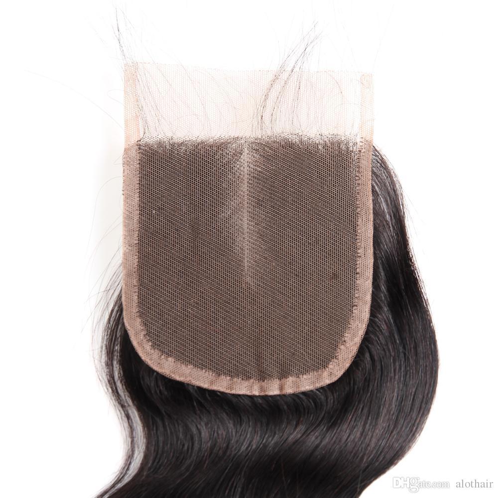 Peruvian Virgin Hair 3 Bundles with 4x4 Lace Closure Body Wave Hair Weaves 100% Unprocessed Peruvian Human Hair with Closure