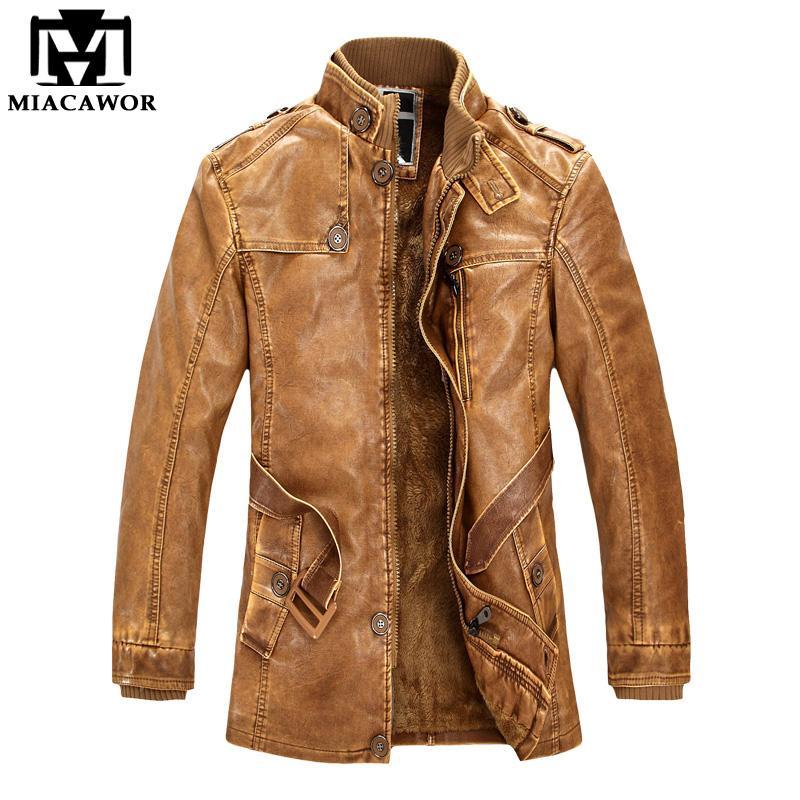 2019 Wholesale Russian Winter Men Leather Jackets Windbreak Warm Pu