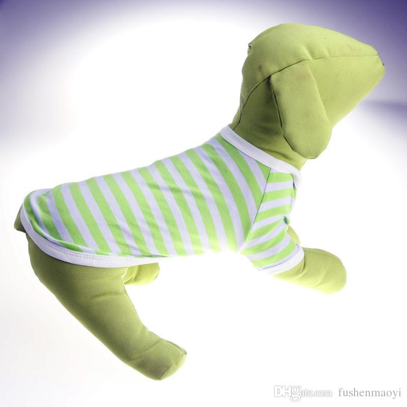 Pet Moda Serisi Köpek Yaz giysileri polo örgü gömlek streak nefes köpek kostümleri 5 boyutları 6 renkler ücretsiz kargo