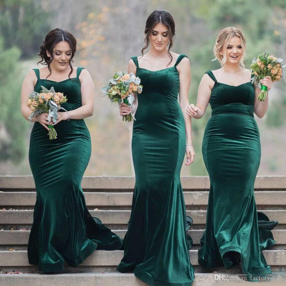 Grosshandel Vintage Green Velvet Lange Hochzeit Gast Kleider Gunstige