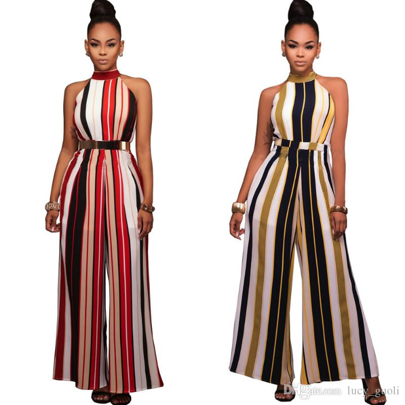 c5bb8a015d7 2019 Elegant Fashion Sexy Jumpsuits Ladies Loose Pants Stripe Casual Party  Overalls Long Pants Women Sleeveless Night Club Rompers Plus Size XXL From  ...