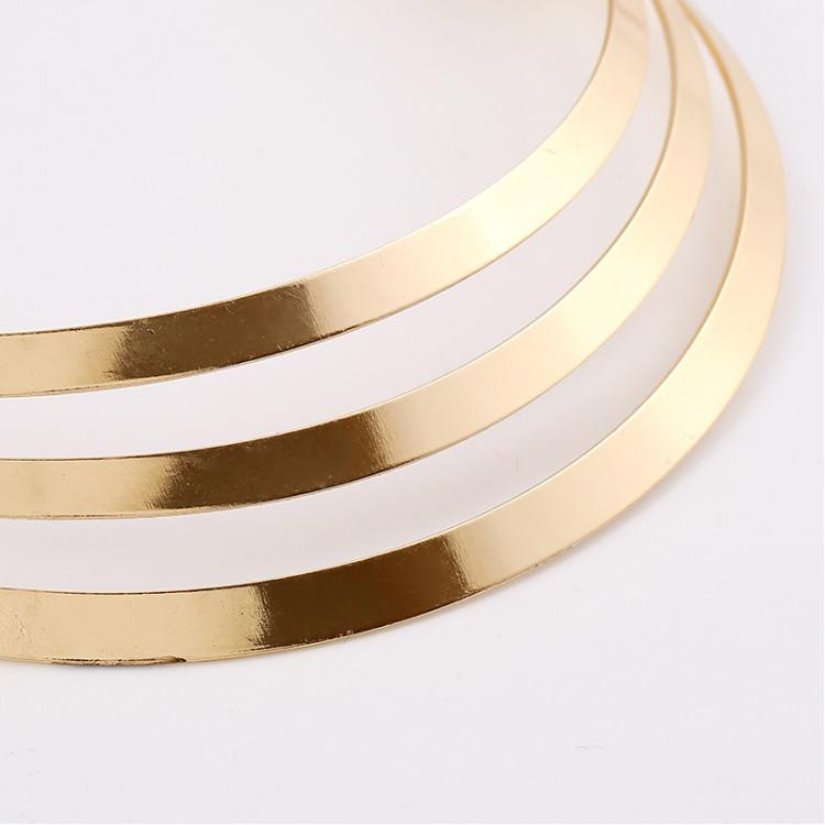 Statement Necklaces Jewelry Punk Fashion Women Quality Exaggerated Glossy Gold Silver Plated Alloy Chokers Wholesale SN894
