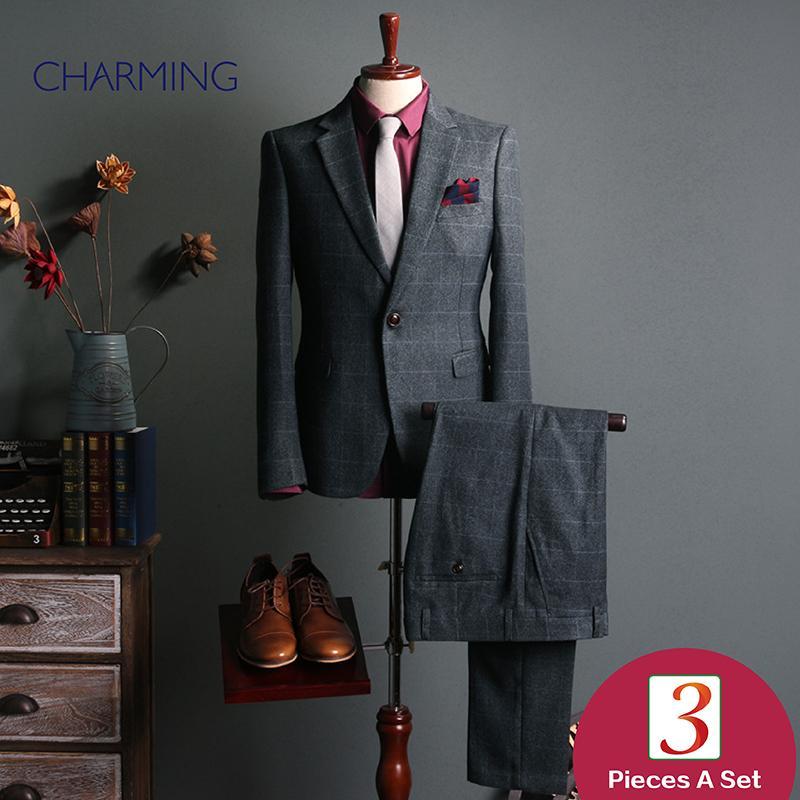 c1003ab18 Business Suits for Men Gray Mens Plaid Suit Two Piece Sui T Design ...