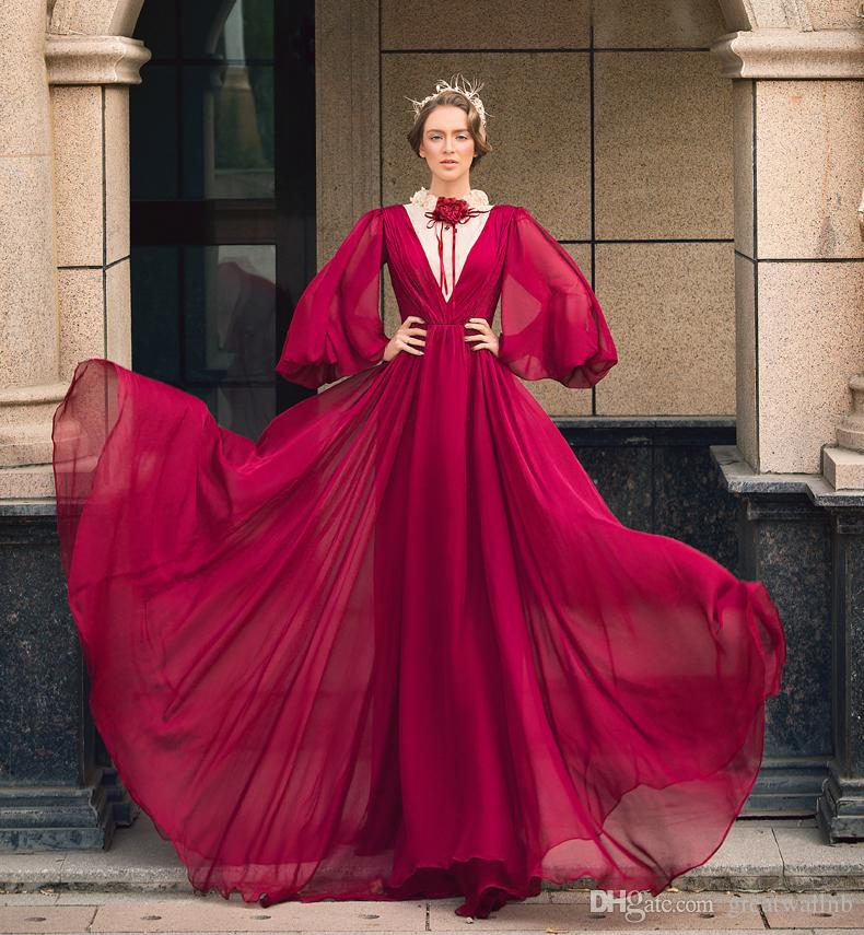 Chiffon Long Bubble Sleeve Gown Cosplay Medieval Dress Renaissance ...
