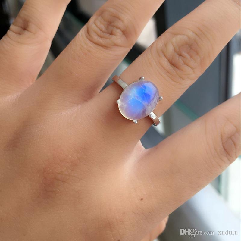 Senhor dos Anéis Natural Labradorite / pedra Luar Azul cinza luz pedras semipreciosas anel