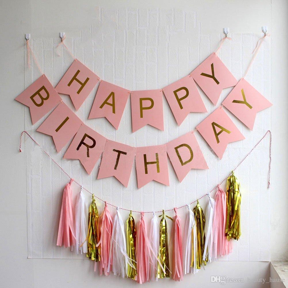 2019 Shiny Gold Letters Happy Birthday Pink Flag Banner