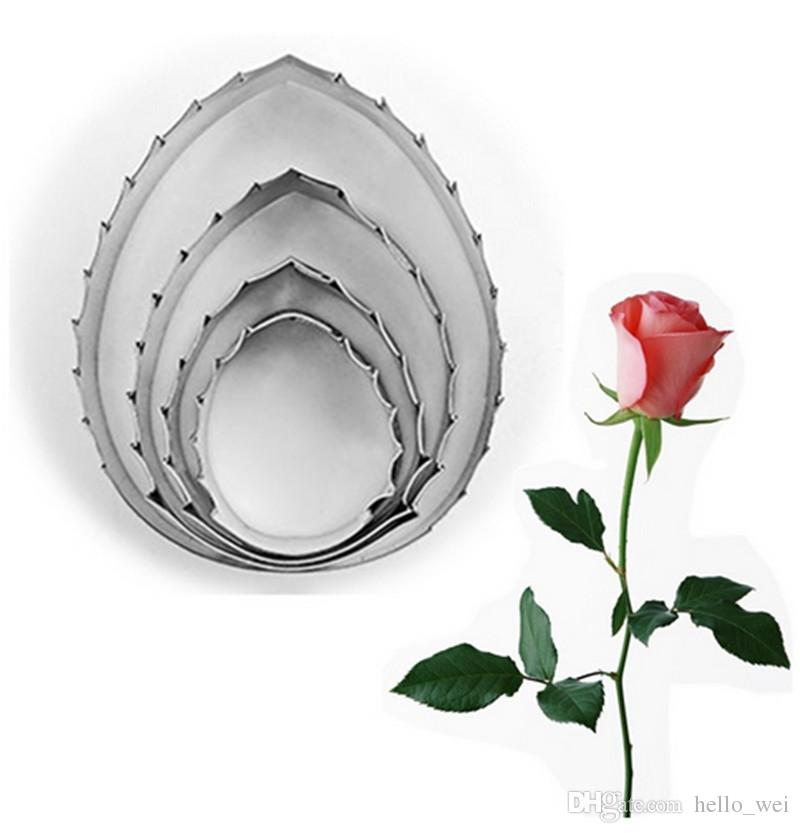 New 4Pcs/Set Cake Cutters Rose Leaf Fondant Cookies Chocolate Sugar Craft Decorating Mould Baking Stainless Steel Tools