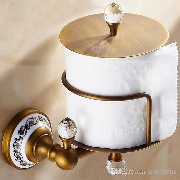 Bathroom Hardware Wall Mounted Brass Crystal WC Toilet Paper Roll Holder Cover Organizer Storage Shelf Antique Rose Gold Black Finish Hanger