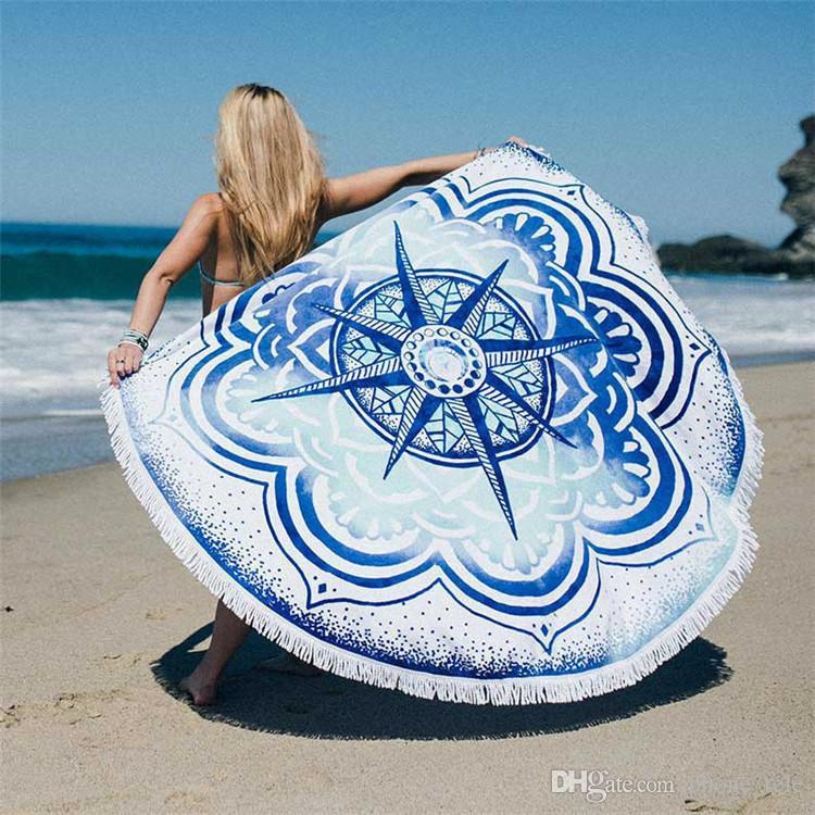 Round Beach Towels Women Bikini Shawl Bohemian Mandala Mat Towel with Tassel Cotton Printed Serviette Cover up Swimsuit Beachwear Blanket
