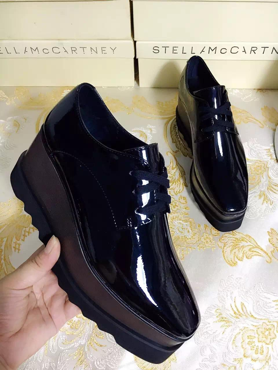 3ce97799dced6 MC Stella Mccartney Black Elyse Shoes Black Patent Leather With Black Sole  Low Top Mens Dress Shoes Platform Shoes From Luischen