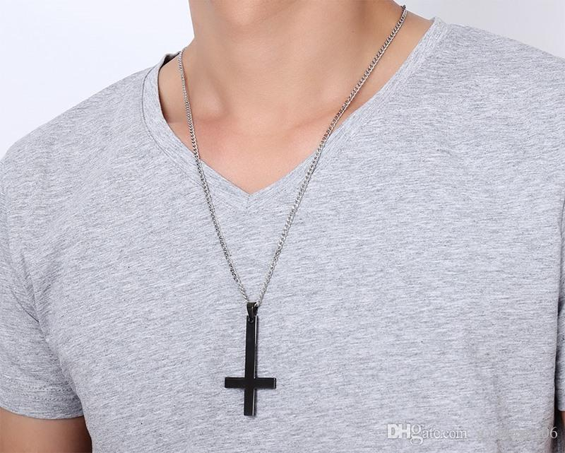 Мужской Черный Закрытый Святой Питер Перевернутый Крест Ожерелье Для Мужчин Нержавеющая Сталь Choker Crux de Sanctus Petrous Ювелирные Изделия