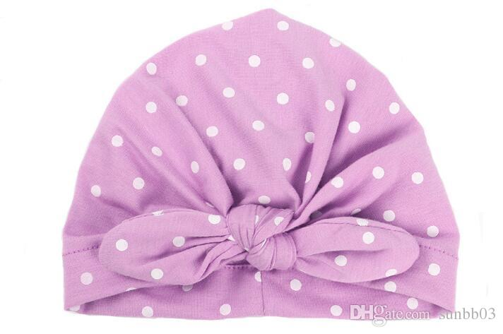 Ins Baby Bow Hat Bunny Ear Caps Europe Style Turban Knot Headwrap Hats Girls Infant India Hats Kids Dots Beanie 13615